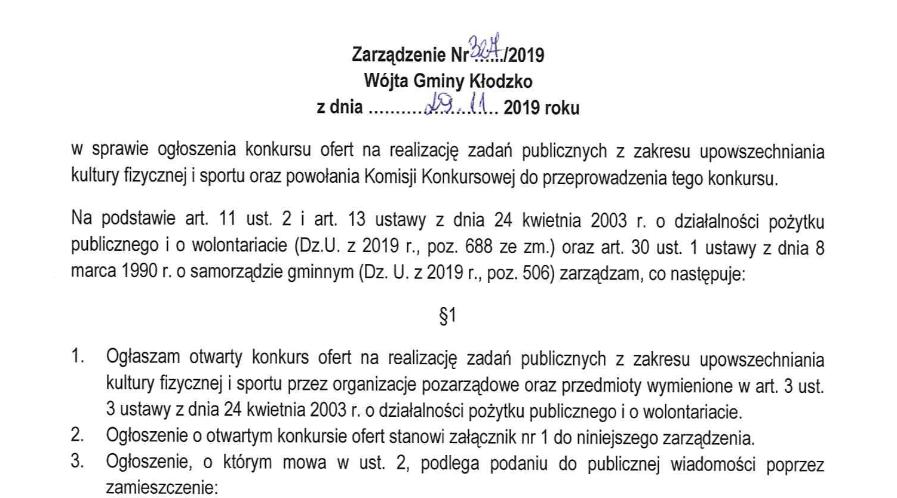 Zarządzenie nr 327/2019