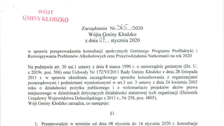 Zarządzenie nr 365/2020