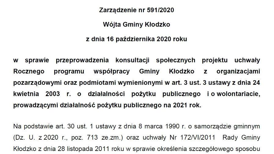Zarządzenie nr 591/2020