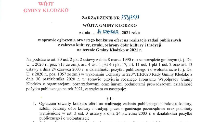 Zarządzenie Wójta Gminy Kłodzko 753/2021