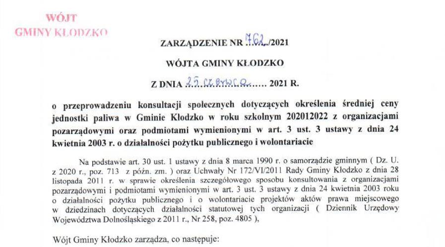 Zarządzenie nr 762/2021