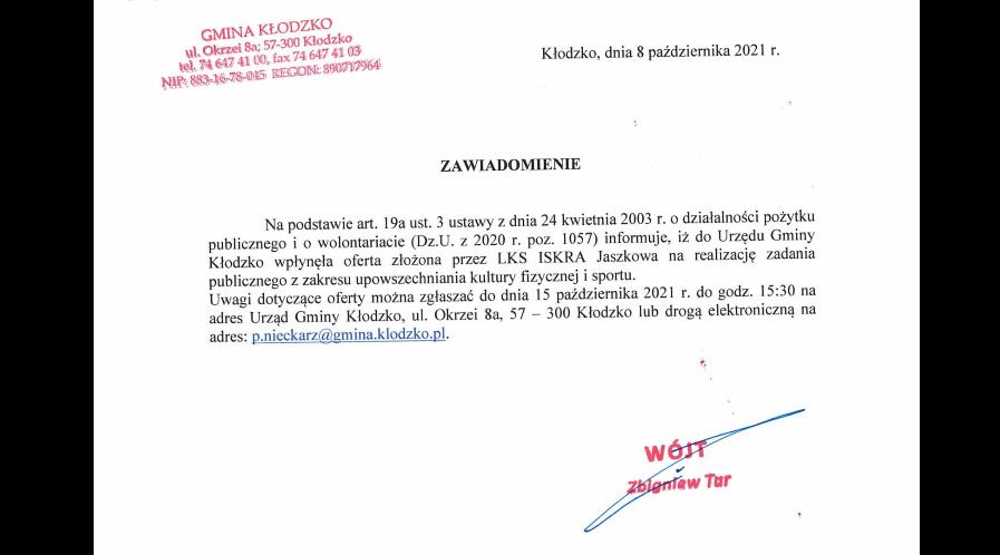 Wpłynęła oferta na realizację zadania (LKS Iskra Jaszkowa)